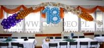 Urodzinowa dekoracja sali wykonana z balonów.