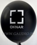 Białe logo na czarnym balonie.