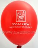 Nadruk na balonie dla Centrum Krwiodawstwa.