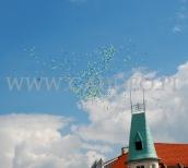 1000 balonów z helem odlatuje nad miastem.
