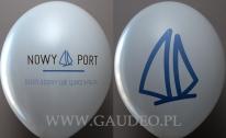 Balon z dwustronnym i dwukolorowym nadrukiem.