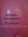 Balon z nadrukiem, informacją w ramach promocji zdrowia.