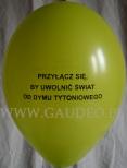 Balon z nadrukiem na akcję promocji zdrowia.