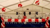 Balonowa dekoracja pikniku firmowego w stylu sportowym.