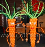 Balonowe marchewki dekorują Comber Babski.