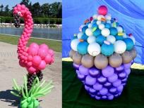 Balonowy flaming, babeczka z balonów, dekoracja balonowa na piknik