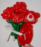 Słodki prezent Walentynkowy - balonowy misio z pękiem róż.