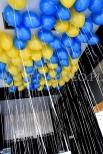 Balony helowe na długich wstążkach.