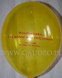 Balony z nadrukiem informującym o akcji promocyjnej.