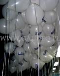 Balony z nadrukiem, wypełnione helem czekają na rozdanie.