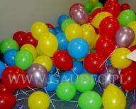Balony z nadrukiem założone na patyczki.