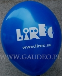 Białe logo nadrukowane na niebieskim balonie.