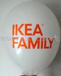 Biały balon z pomarańczowym nadrukiem dla Ikea Family.