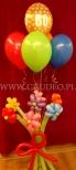 Połączenie balonowych kwiatków z balonami helowymi w bukiecie.