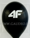 Czarny balon z białym nadrukiem.