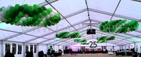 Firmowa impreza jubileuszowa udekorowana balonami.