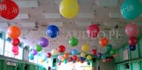 Dekoracja przy użyciu metrowych balonów z okazji Barbórki.