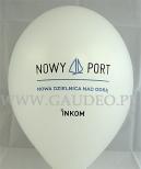 Dwukolorowy nadruk na białym balonie.