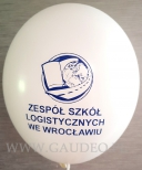 Granatowy nadruk na białym balonie.