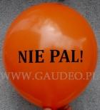 Hasło okolicznościowe wydrukowane na balonie.