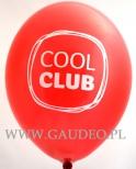 Jednokolorowy nadruk na czerwonym balonie.