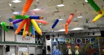 Kredki z balonów jako Barbórkowa dekoracja sali.