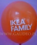 Logo Ikea Family wydrukowane na balonie.