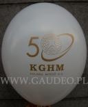 Logo rocznicowe nadrukowane na balonie.