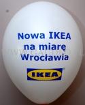 Logotyp otwarcia nowego sklepu nadrukowany na balonie.