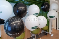 Balony olbrzymy z helem jako dekoracja na otwarcie przychodni Enel-Med.
