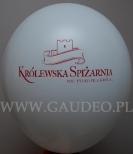 Nadruk reklamujący nowy punkt handlowy wykonany na balonie.