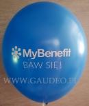 Biały nadruk na niebieskim balonie.