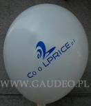 Niebieskie logo wdrukowane na biały balon.