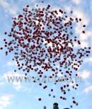 Patriotyczne wypuszczanie biało-czerwonych balonów helowych.