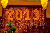 Podświetlone balonowe cyfry na balu Noworocznym.