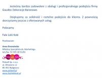 Referencje dla firmy Gaudeo Dekoracje Balonowe w związku z wykonanymi dekoracjami.
