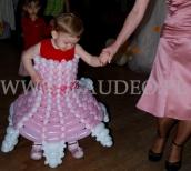 Różowo biała dziecięca sukienka balonowa.
