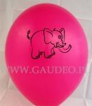 Nadruk w kolorze czarnym na różowym balonie.