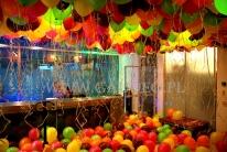 Sufit zakryty kolorowymi balonami z helem.