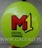 Trójkolorowy nadruk na zielonym balonie.