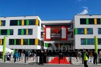 Dekoracja balonowe na uroczystym otwarciu nowej wrocławskiej kliniki onkologii dziecięcej.