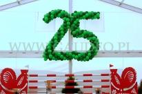 Wielka liczba 25 wykonana z balonów.
