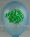 Błękitny, metalizowany balon z zielonym nadrukiem.