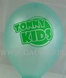 Turkusowy balon z zielonym nadrukiem.