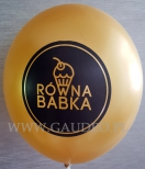 Złoty balon z czarnym nadrukiem logo.