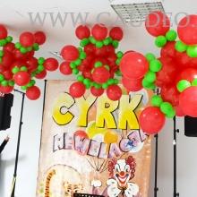 Dekoracja balonowa imprezy z tematem cyrkowym.