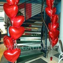 Balonowe serca jako dekoracja walentynkowa.